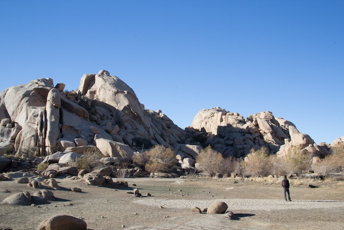 dans les rochers de Barker Dam, rando facile de Joshua Tree NP
