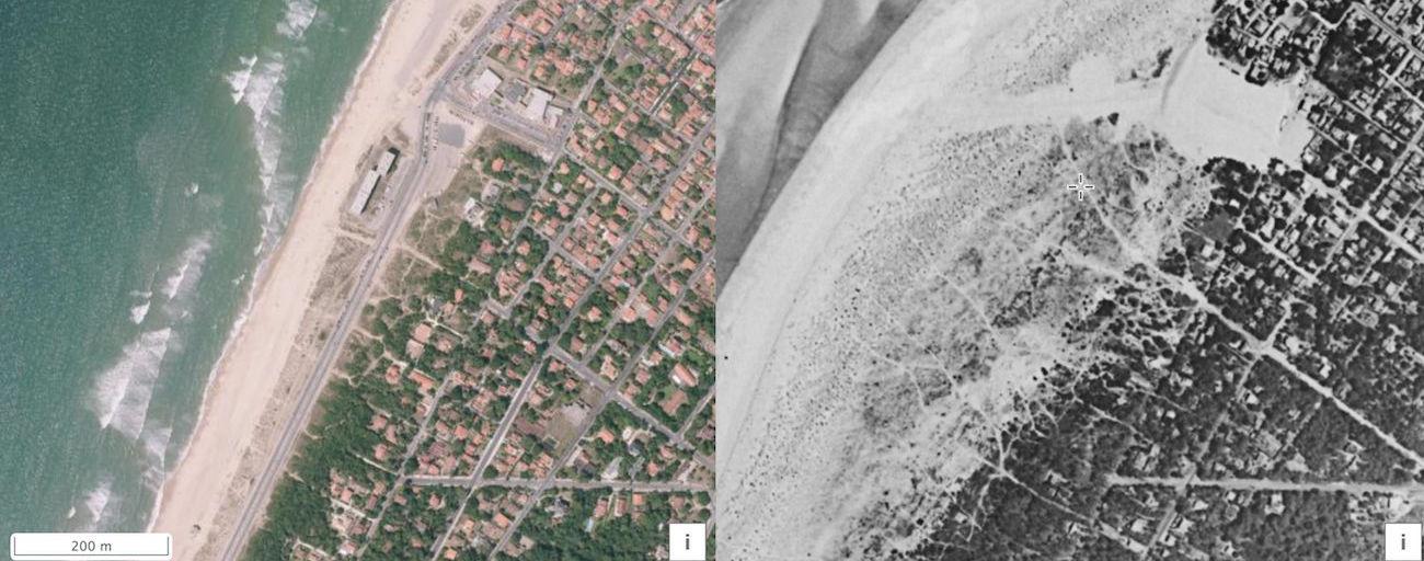 comparaison de vues aériennes de Soulac-sur-Mer dans le temps