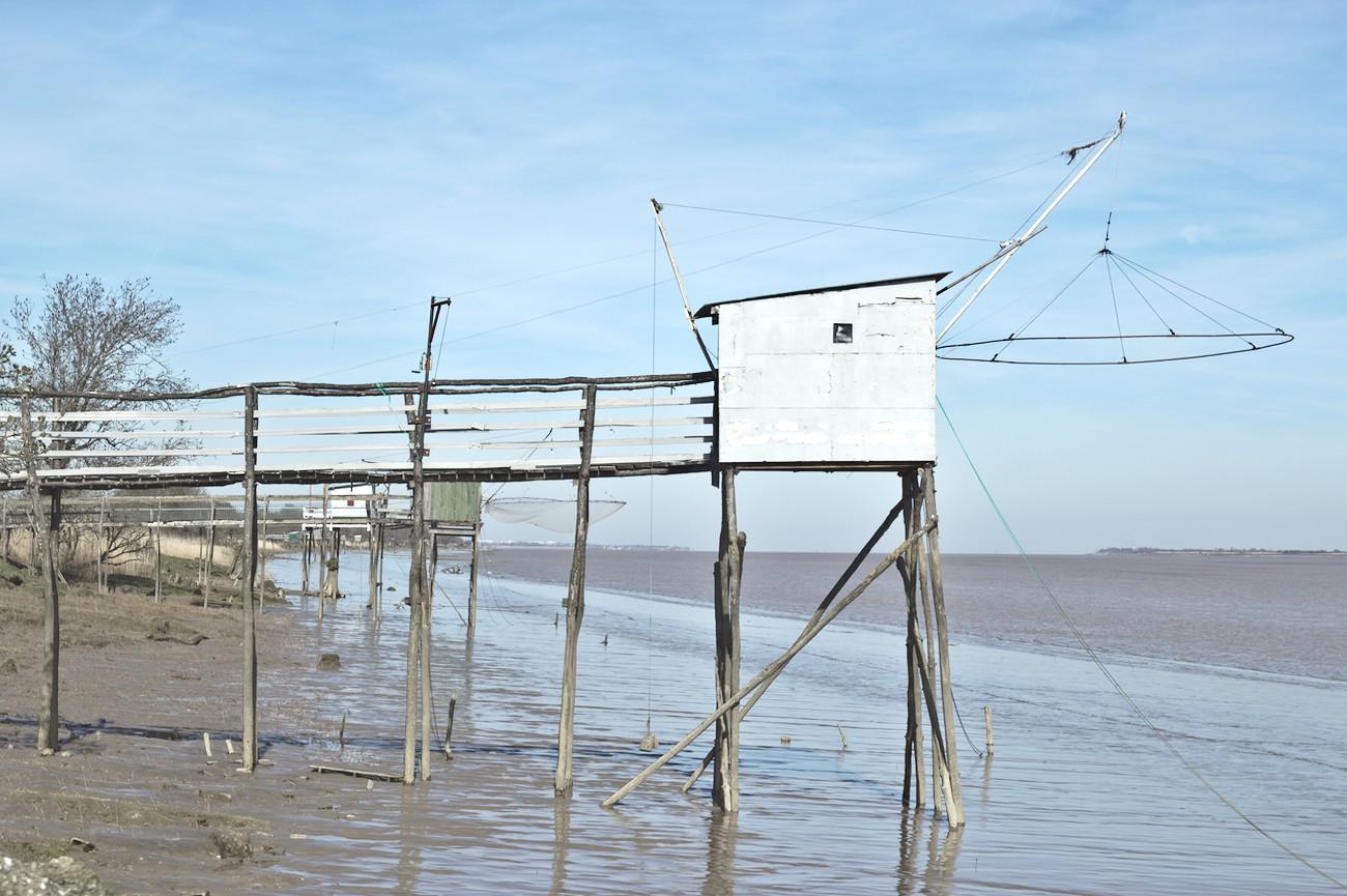 Le carrelet, cabane de pêcheur sur la Gironde